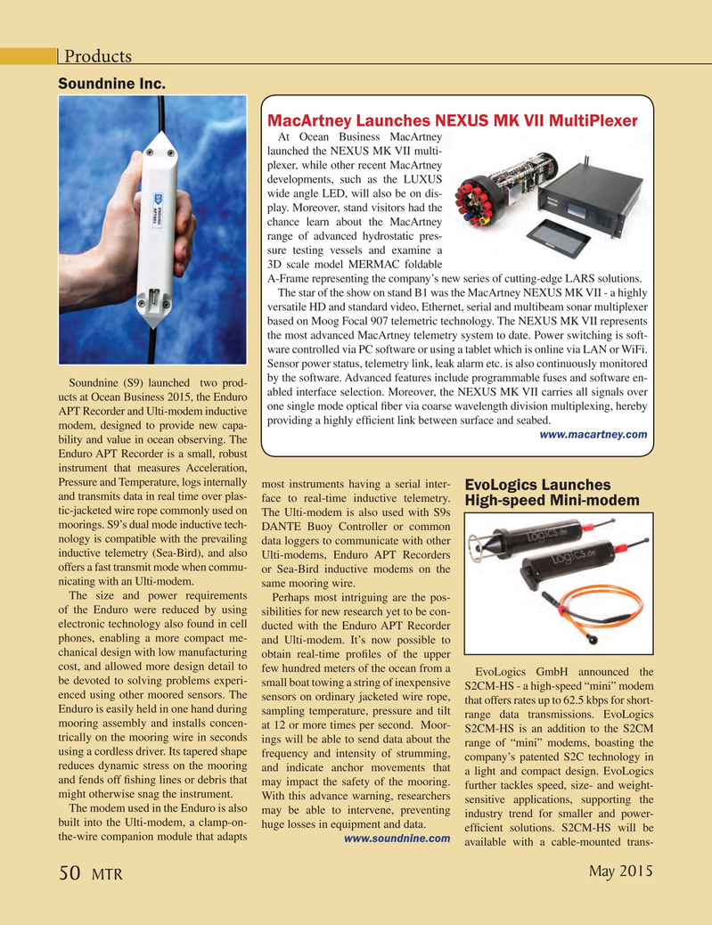 Marine Technology Magazine, page 50,  May 2015