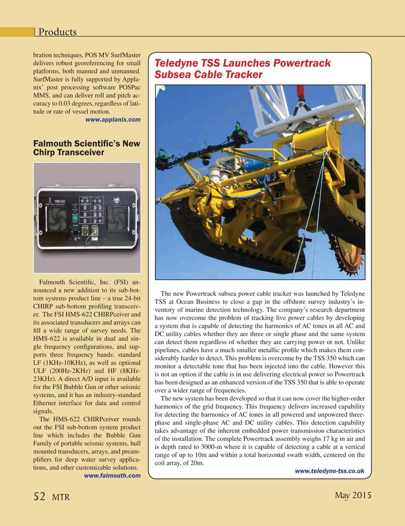 Marine Technology Magazine, page 52,  May 2015