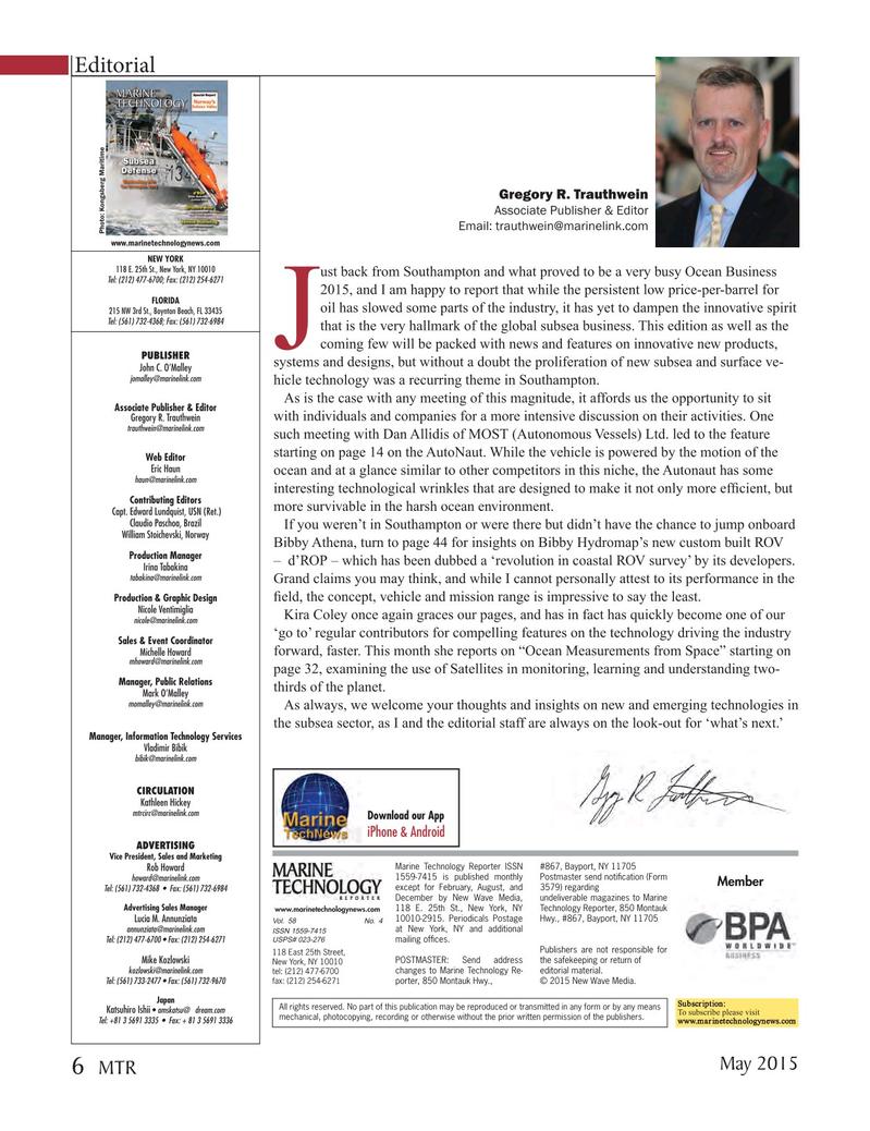 Marine Technology Magazine, page 6,  May 2015