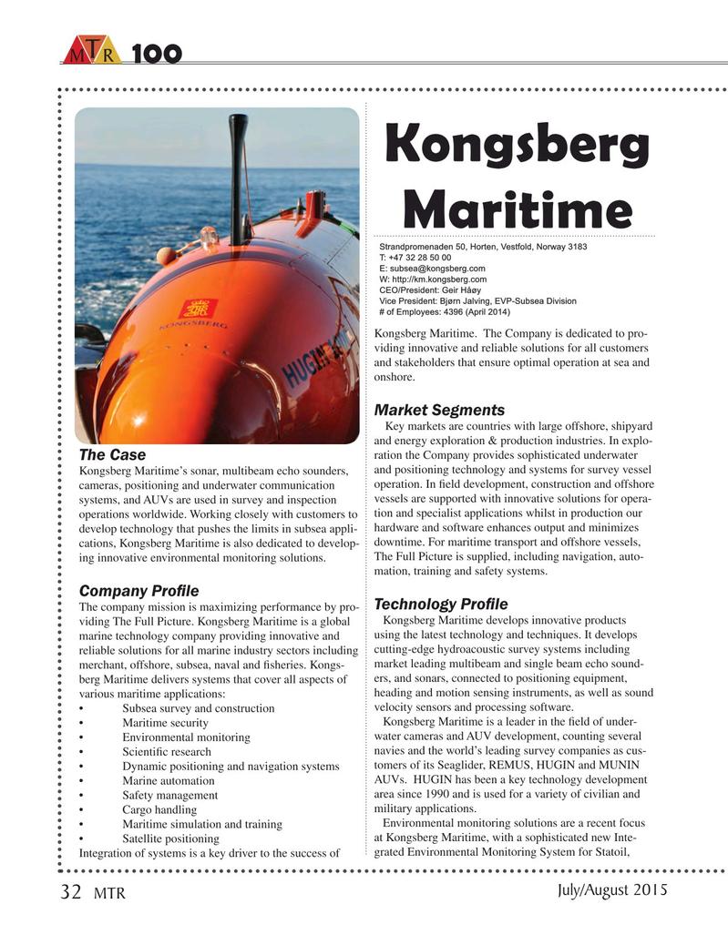 Marine Technology Magazine, page 32,  Jul 2015