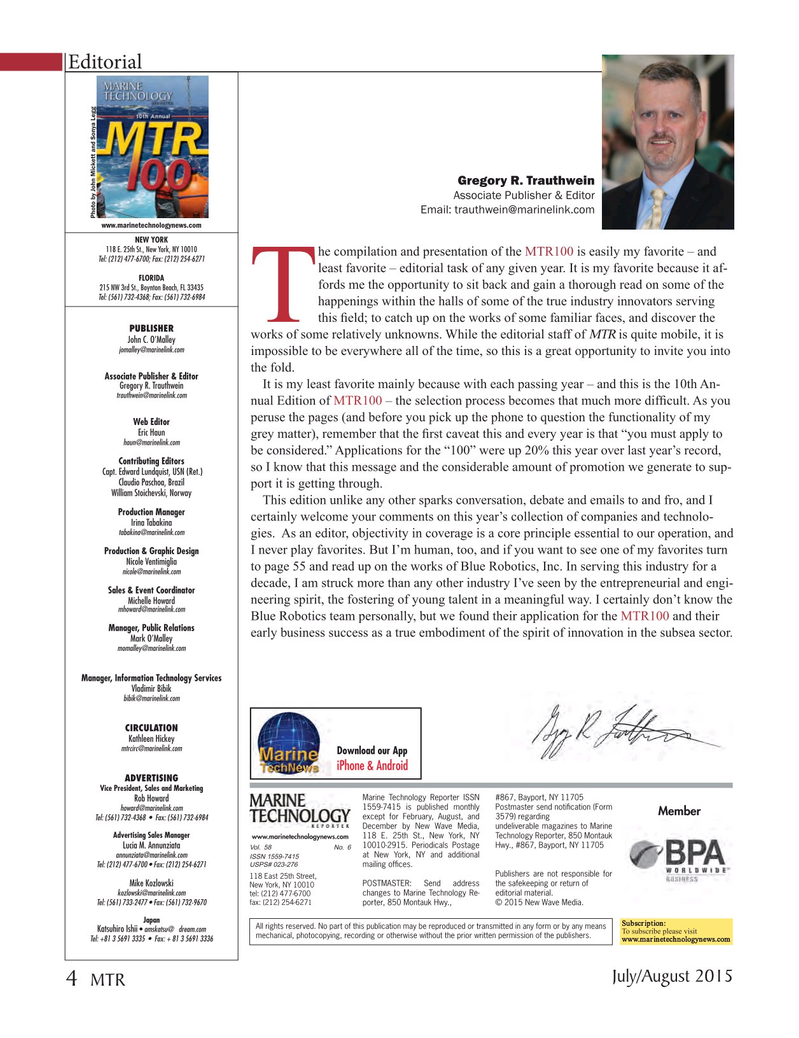 Marine Technology Magazine, page 4,  Jul 2015