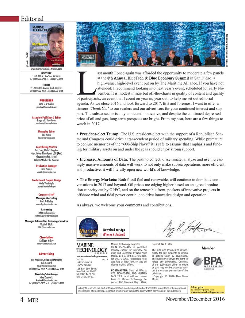 Marine Technology Magazine, page 4,  Nov 2016