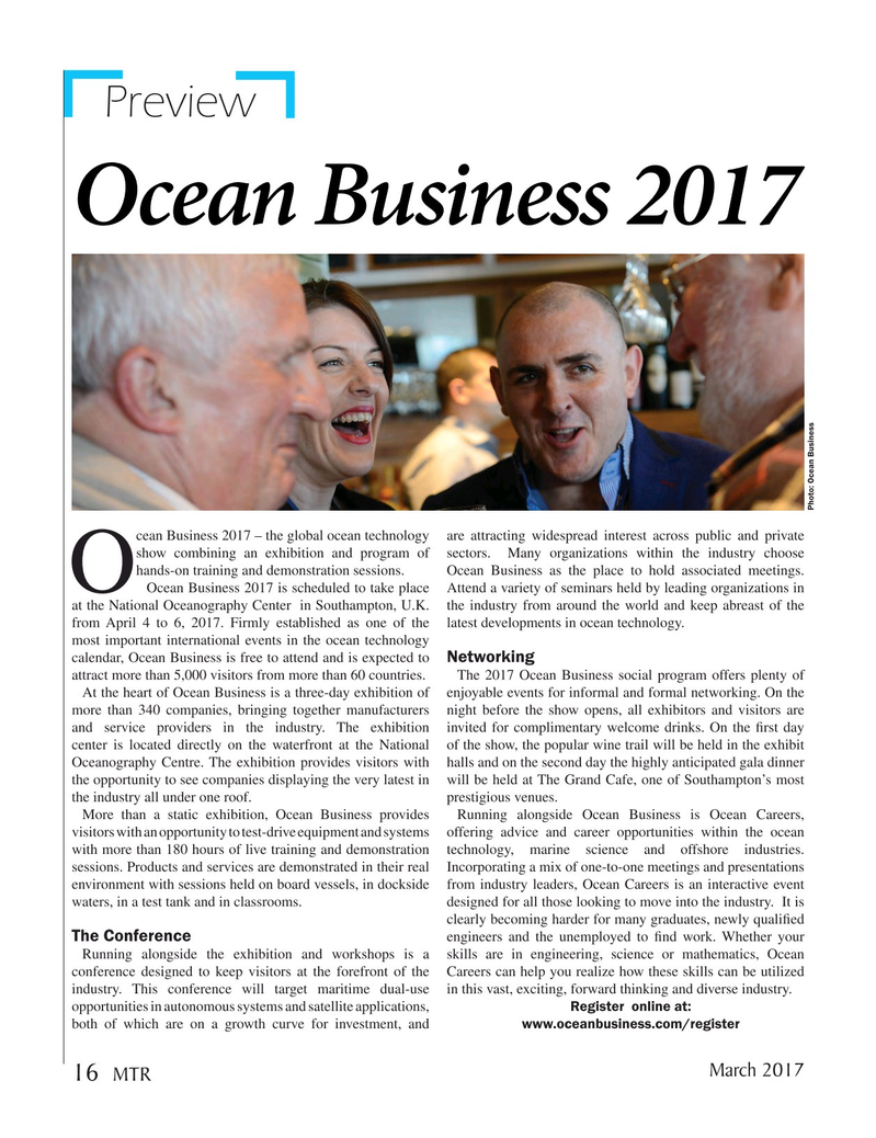 Marine Technology Magazine, page 16,  Mar 2017