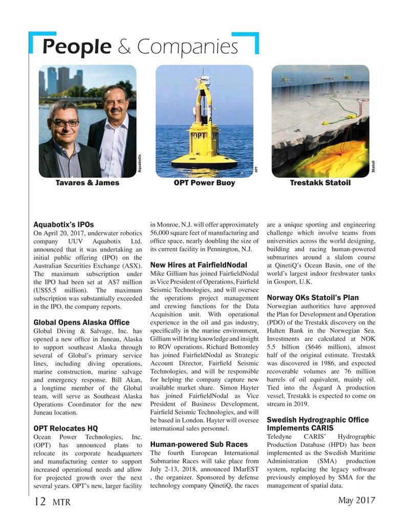 Marine Technology Magazine, page 12,  May 2017