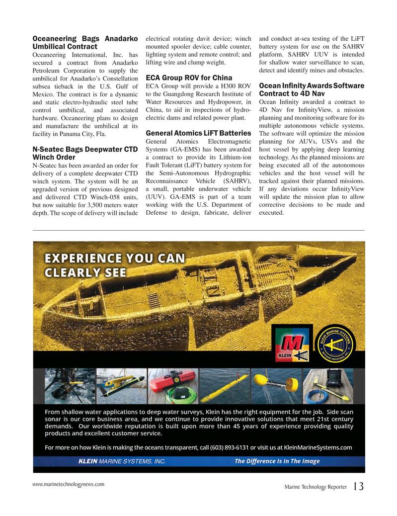 Marine Technology Magazine, page 13,  May 2017
