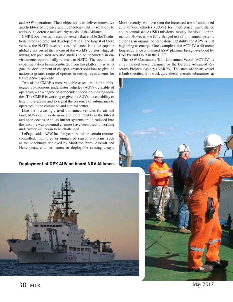 Marine Technology Magazine, page 30,  May 2017