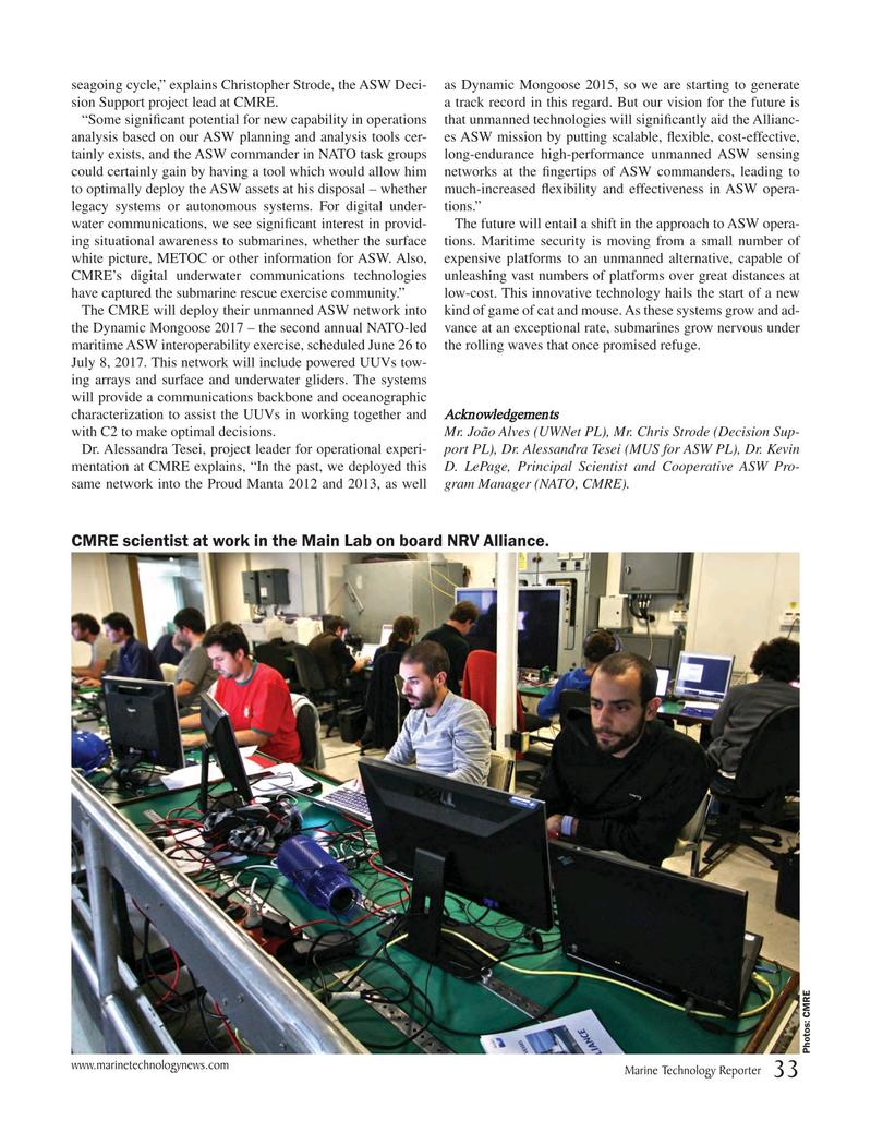 Marine Technology Magazine, page 33,  May 2017