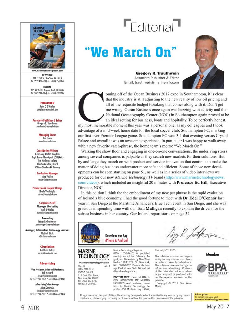Marine Technology Magazine, page 4,  May 2017