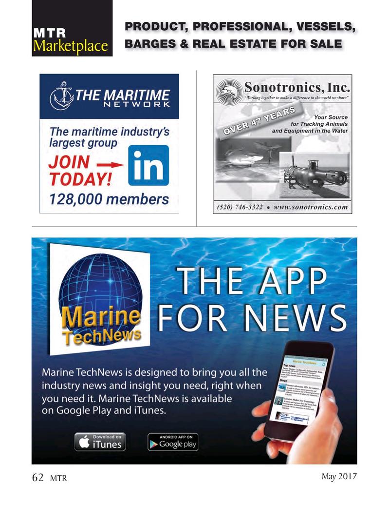 Marine Technology Magazine, page 62,  May 2017