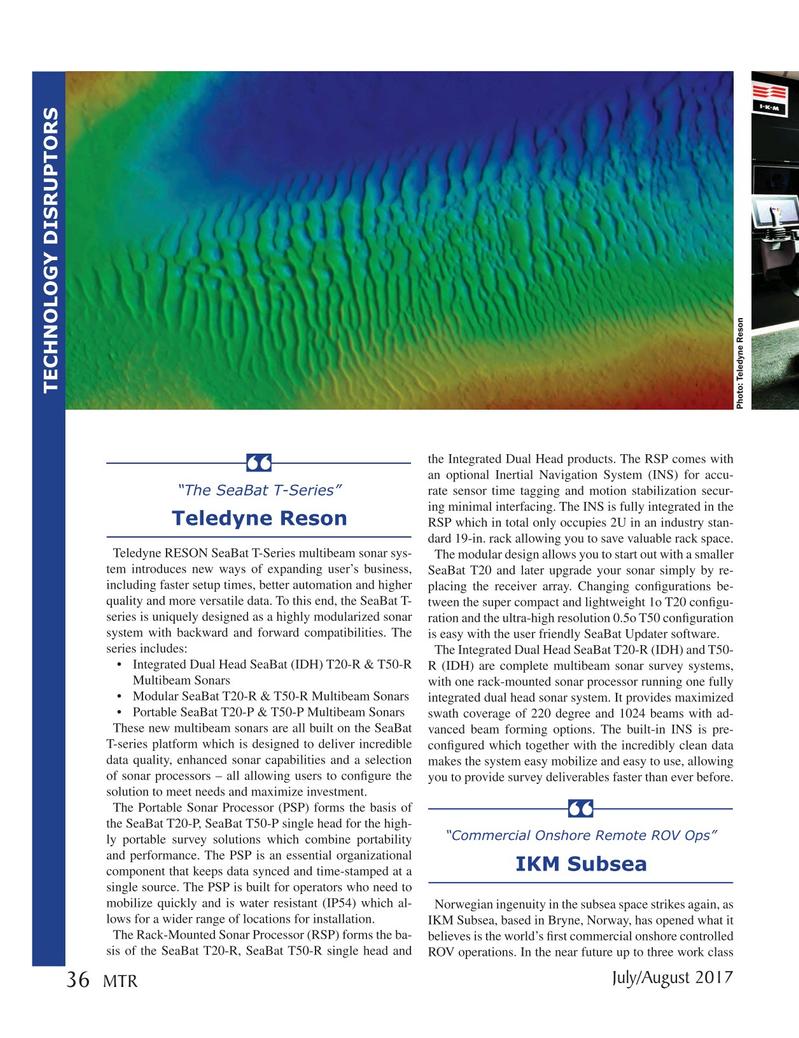 Marine Technology Magazine, page 36,  Jul 2017