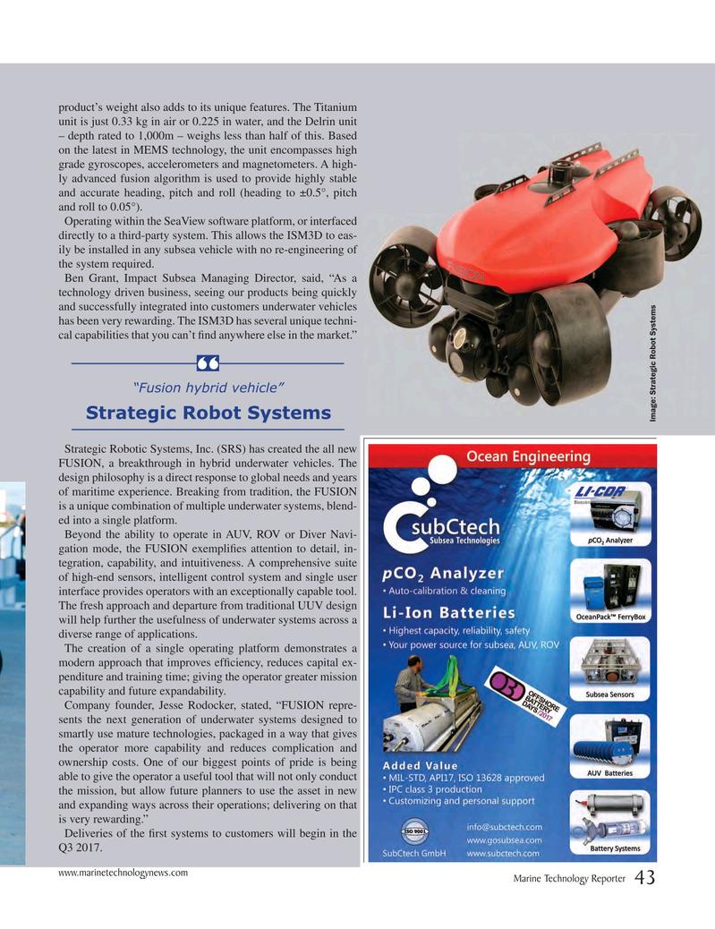 Marine Technology Magazine, page 43,  Jul 2017