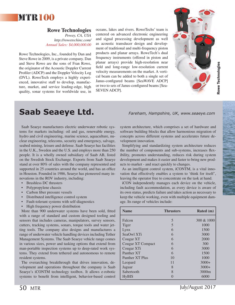 Marine Technology Magazine, page 50,  Jul 2017