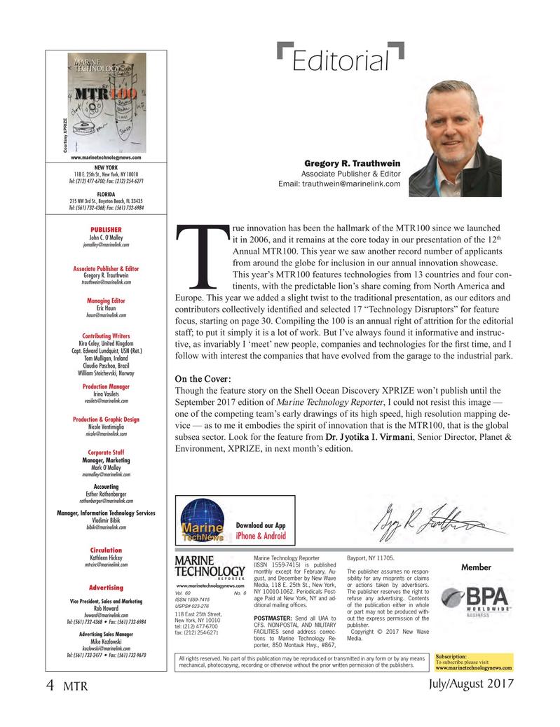 Marine Technology Magazine, page 4,  Jul 2017
