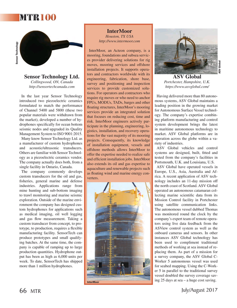 Marine Technology Magazine, page 66,  Jul 2017