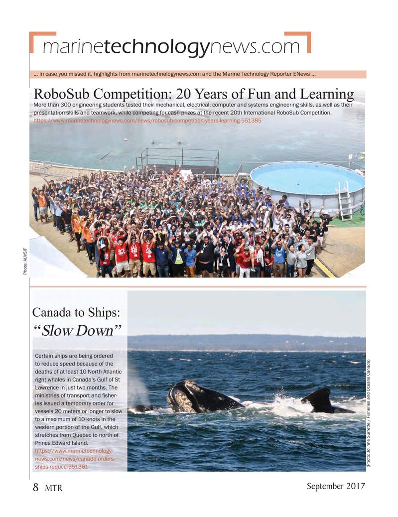Marine Technology Magazine, page 8,  Sep 2017