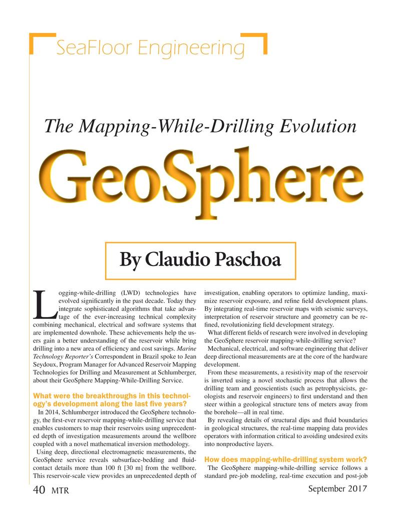 Marine Technology Magazine, page 40,  Sep 2017