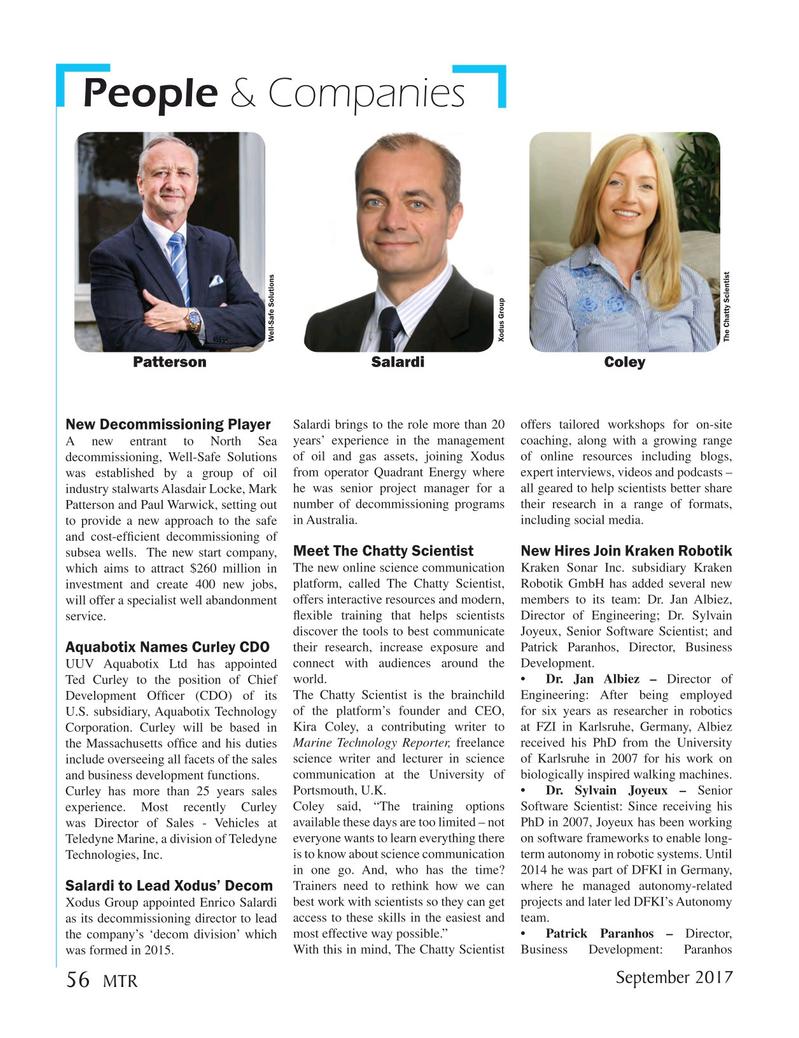Marine Technology Magazine, page 56,  Sep 2017
