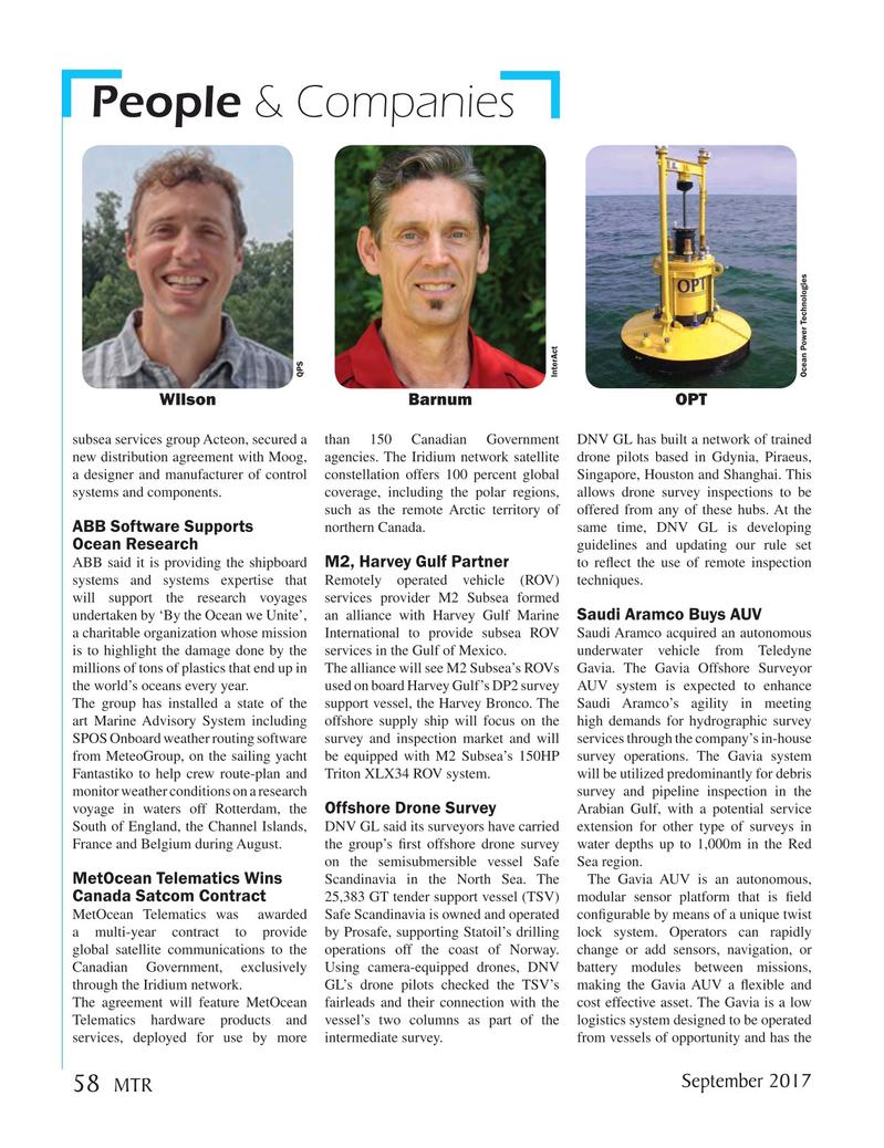 Marine Technology Magazine, page 58,  Sep 2017