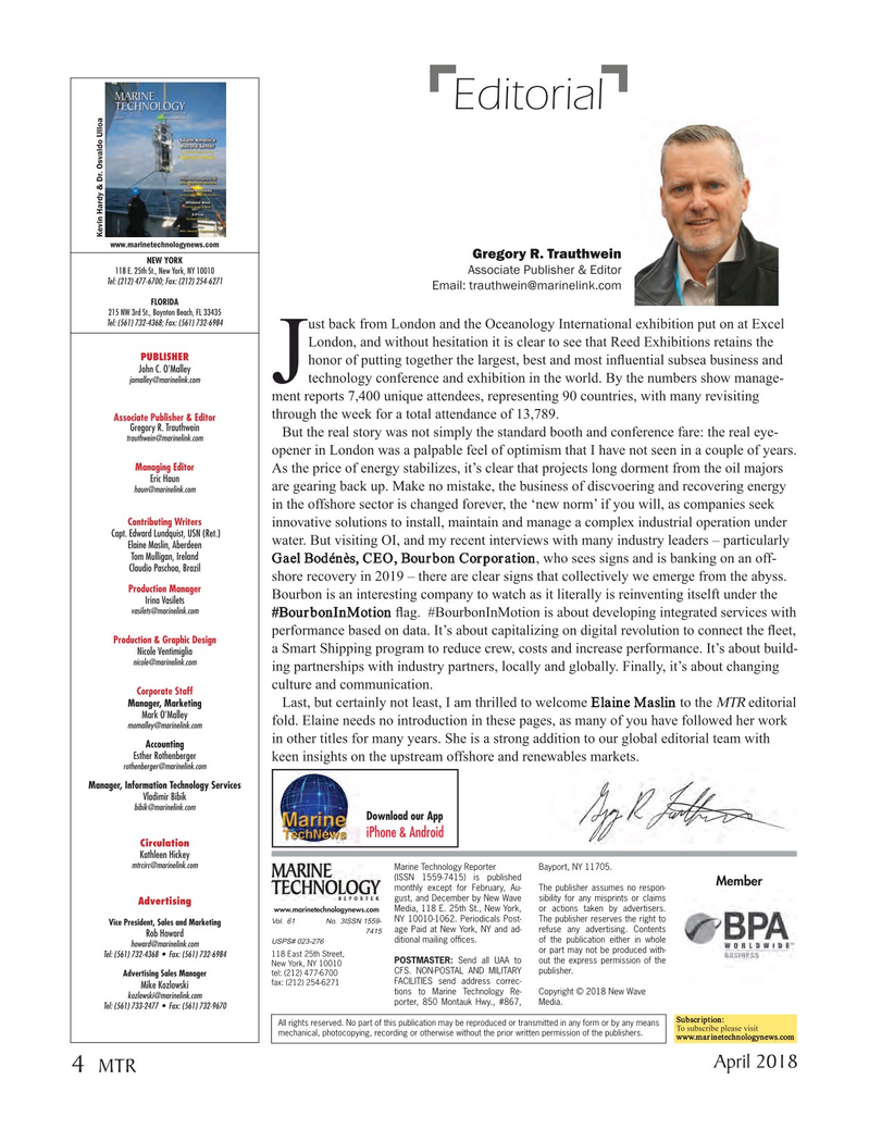 Marine Technology Magazine, page 4,  Apr 2018
