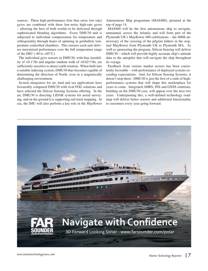 Marine Technology Magazine, page 17,  May 2018