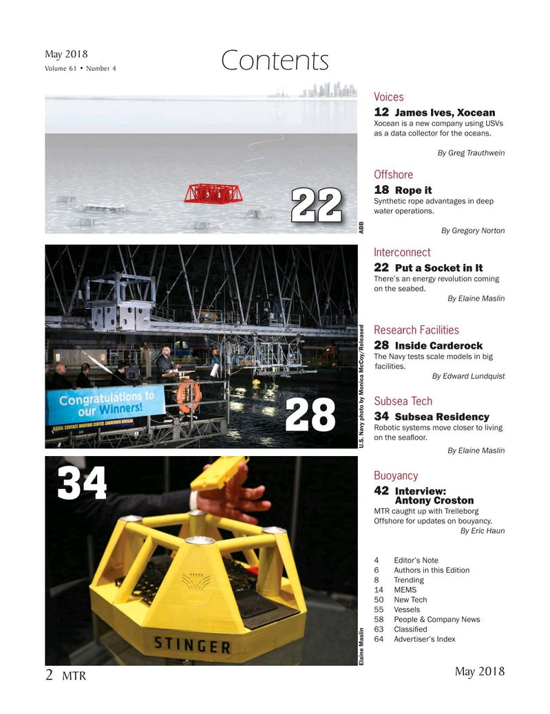 Marine Technology Magazine, page 2,  May 2018