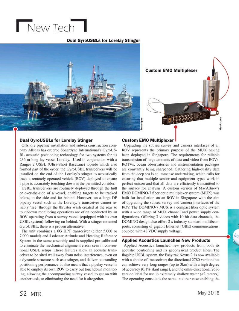 Marine Technology Magazine, page 52,  May 2018