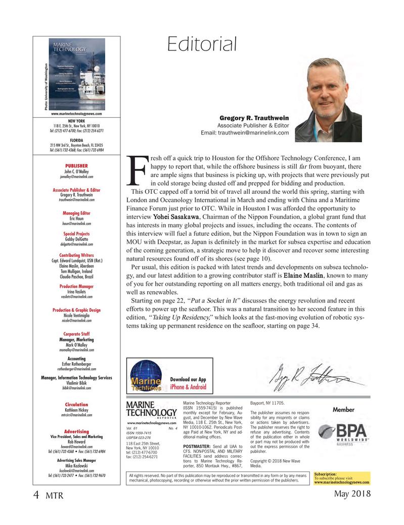 Marine Technology Magazine, page 4,  May 2018