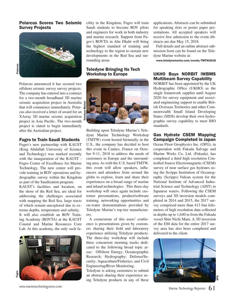 Marine Technology Magazine, page 61,  May 2018