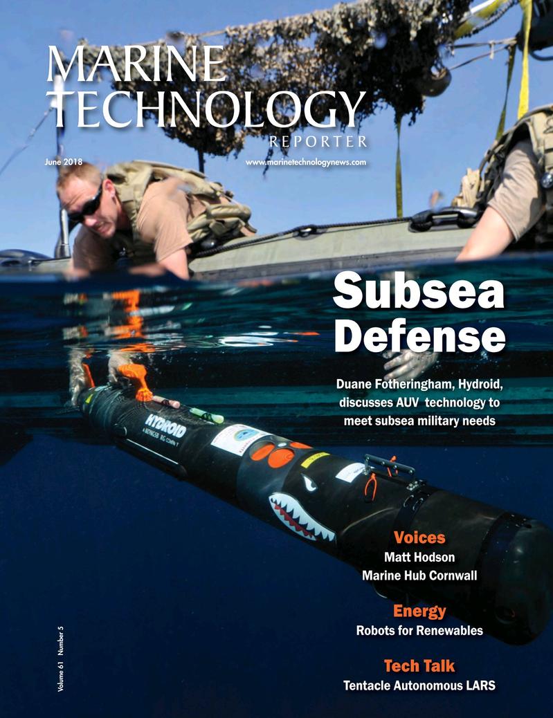 Marine Technology Magazine Cover Jun 2018 - Underwater Defense