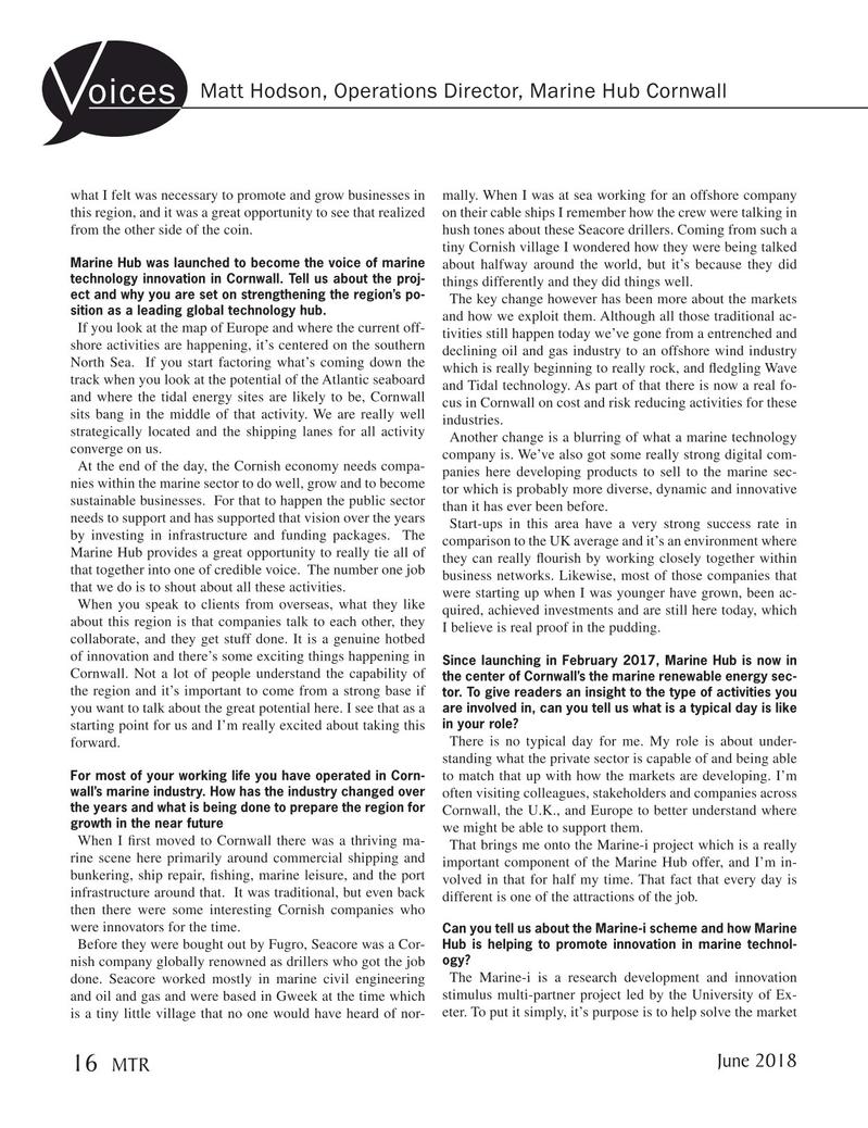 Marine Technology Magazine, page 16,  Jun 2018