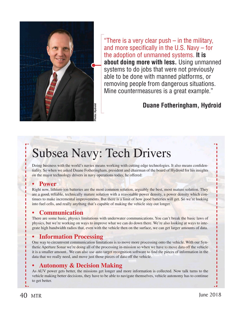 Marine Technology Magazine, page 40,  Jun 2018