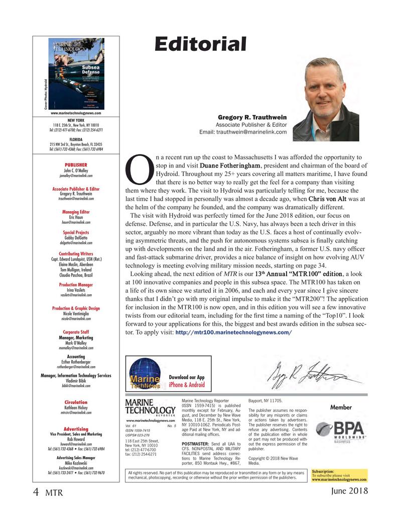 Marine Technology Magazine, page 4,  Jun 2018