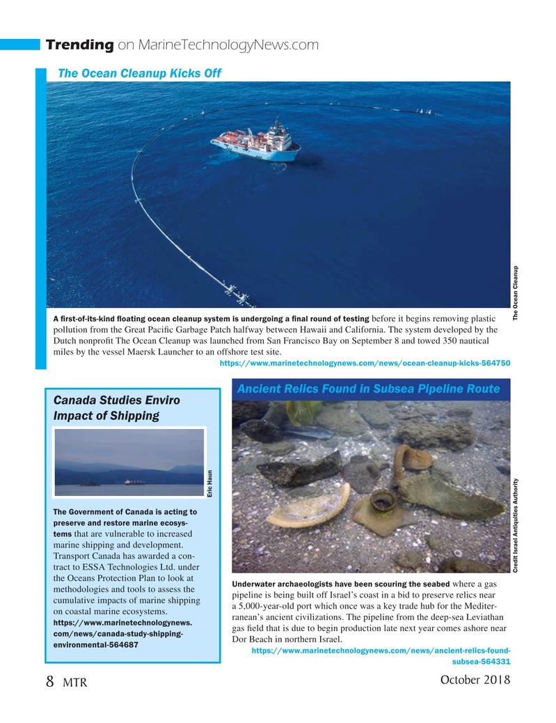Marine Technology Magazine, page 8,  Oct 2018