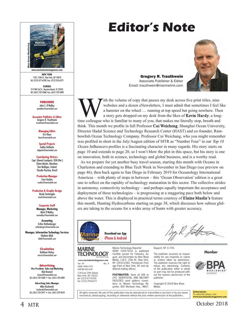 Marine Technology Magazine, page 4,  Oct 2018