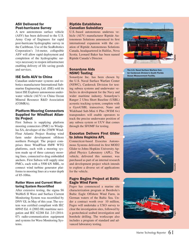 Marine Technology Magazine, page 61,  Oct 2018