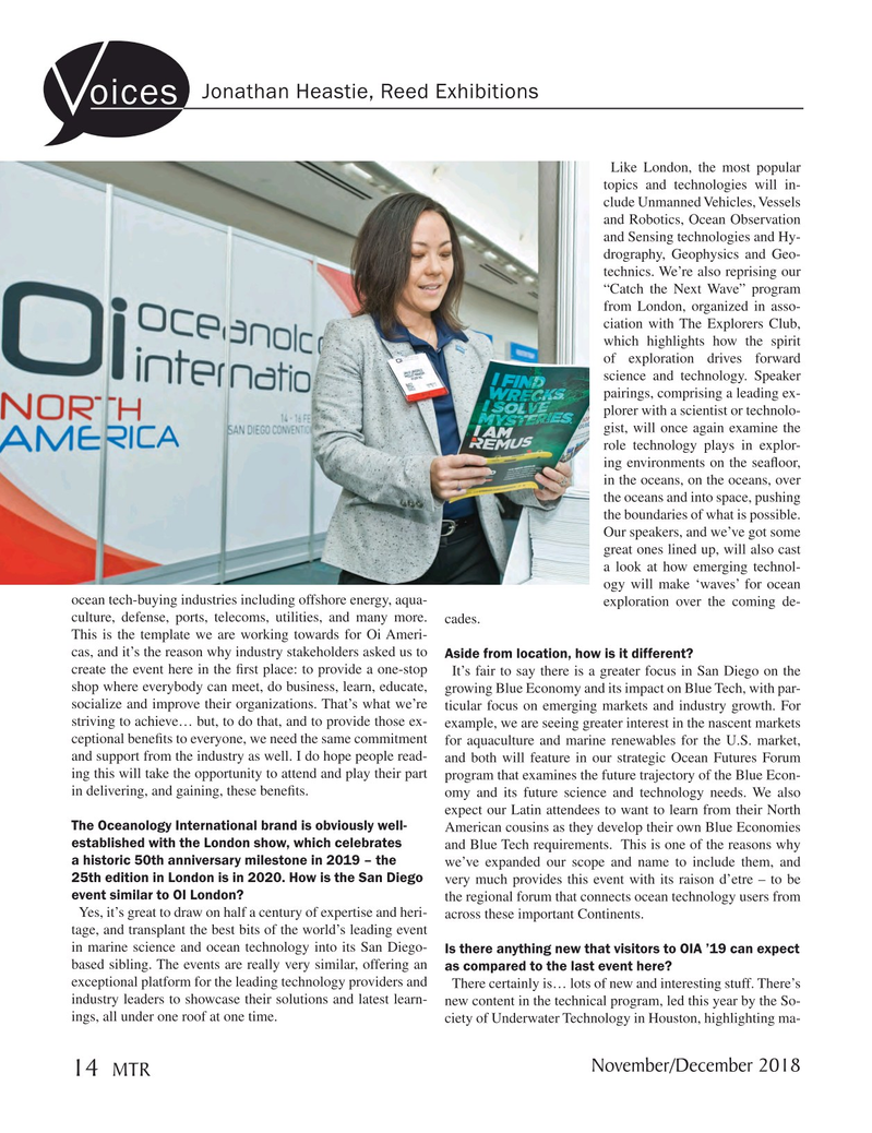 Marine Technology Magazine, page 14,  Nov 2018