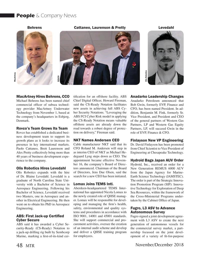 Marine Technology Magazine, page 48,  Nov 2018
