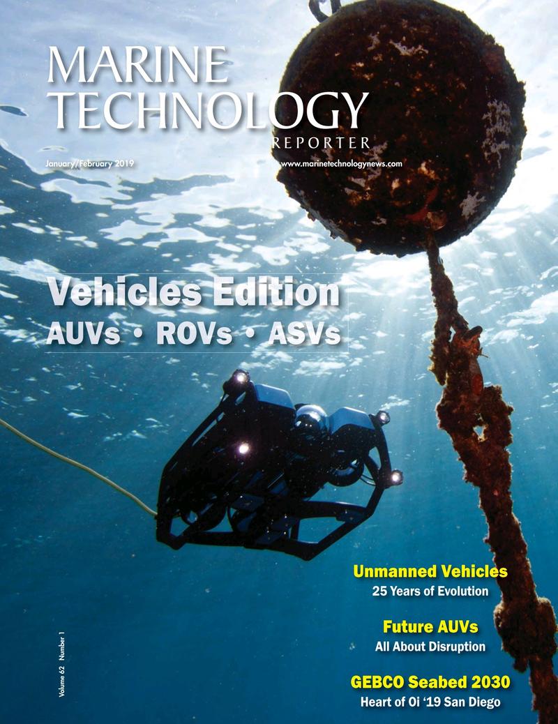Marine Technology Magazine Cover Jan 2019 - Underwater Vehicle Annual