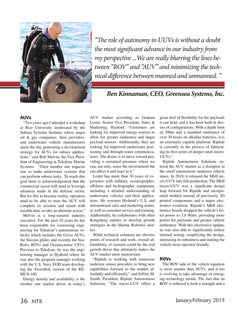 Marine Technology Magazine, page 36,  Jan 2019