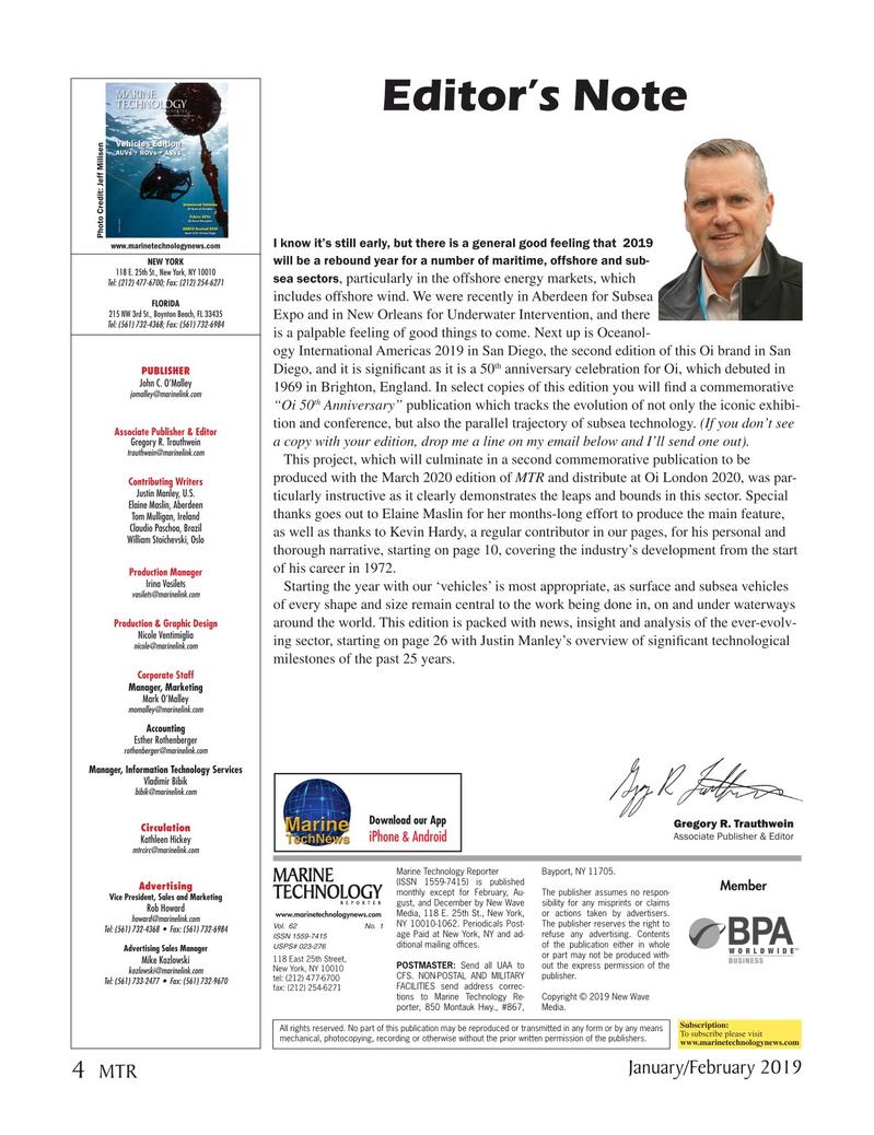 Marine Technology Magazine, page 4,  Jan 2019