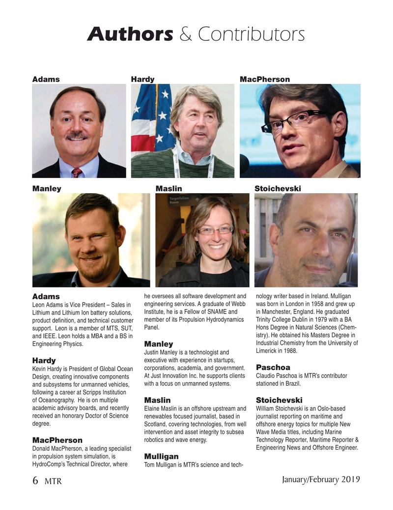 Marine Technology Magazine, page 6,  Jan 2019