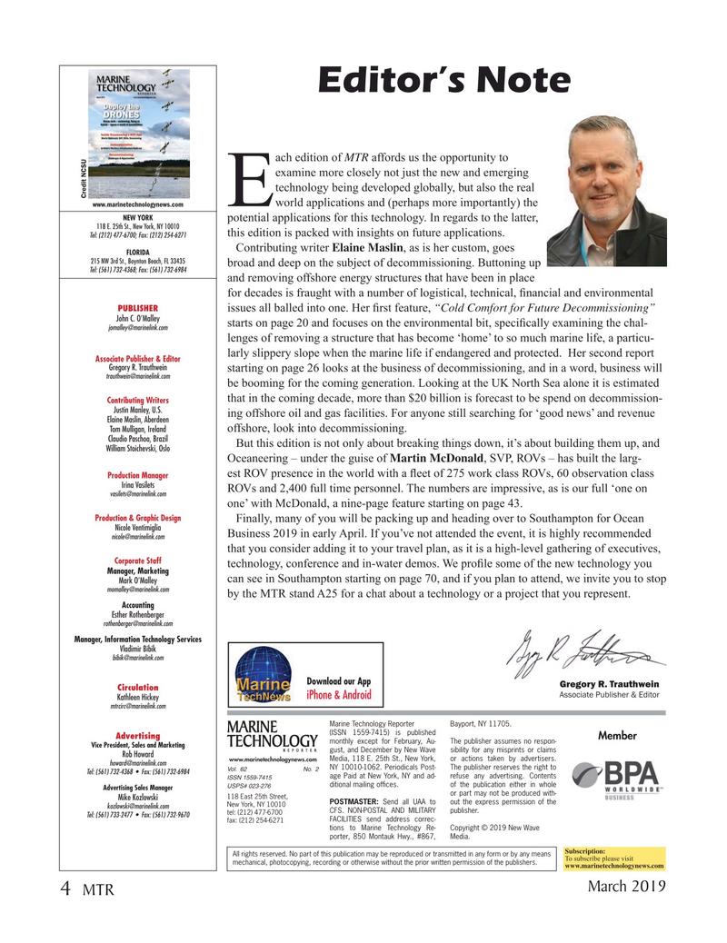 Marine Technology Magazine, page 4,  Mar 2019