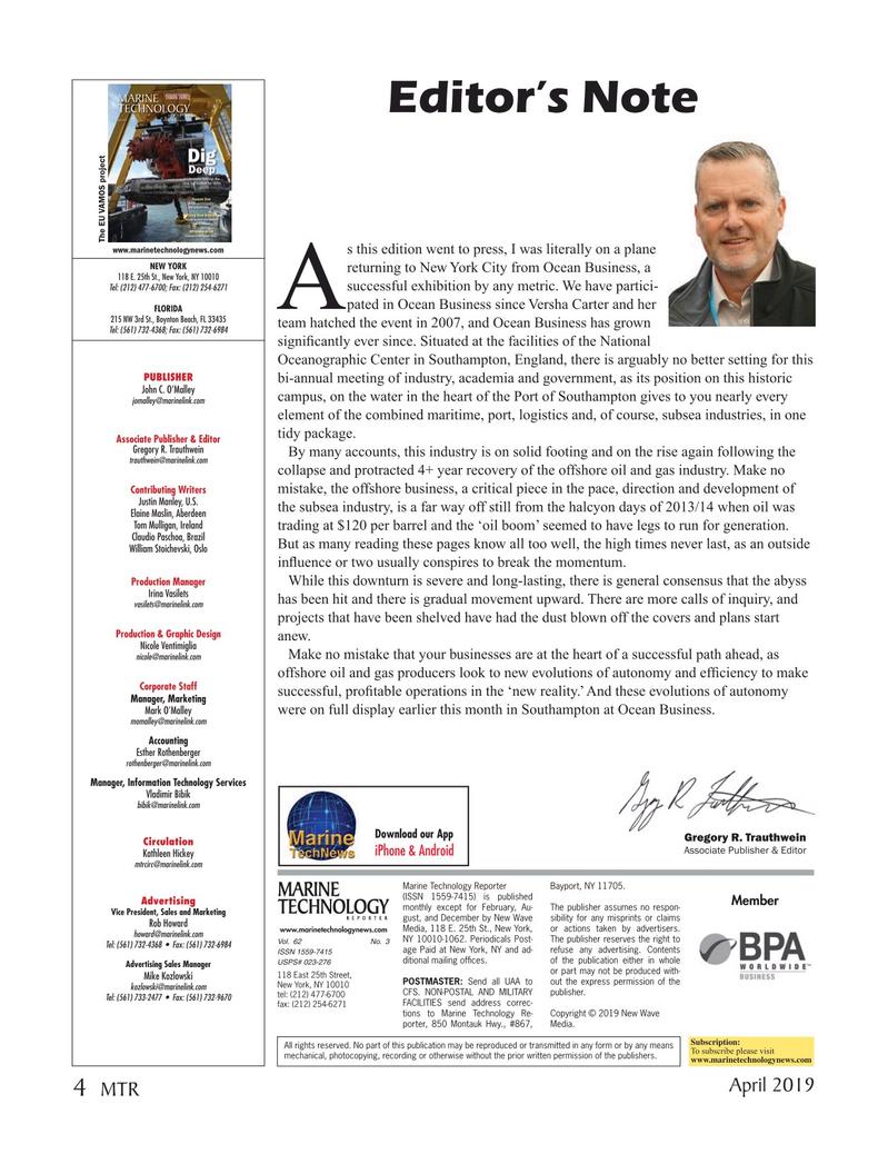 Marine Technology Magazine, page 4,  Apr 2019