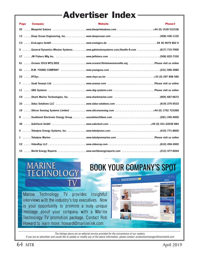 Marine Technology Magazine, page 64,  Apr 2019