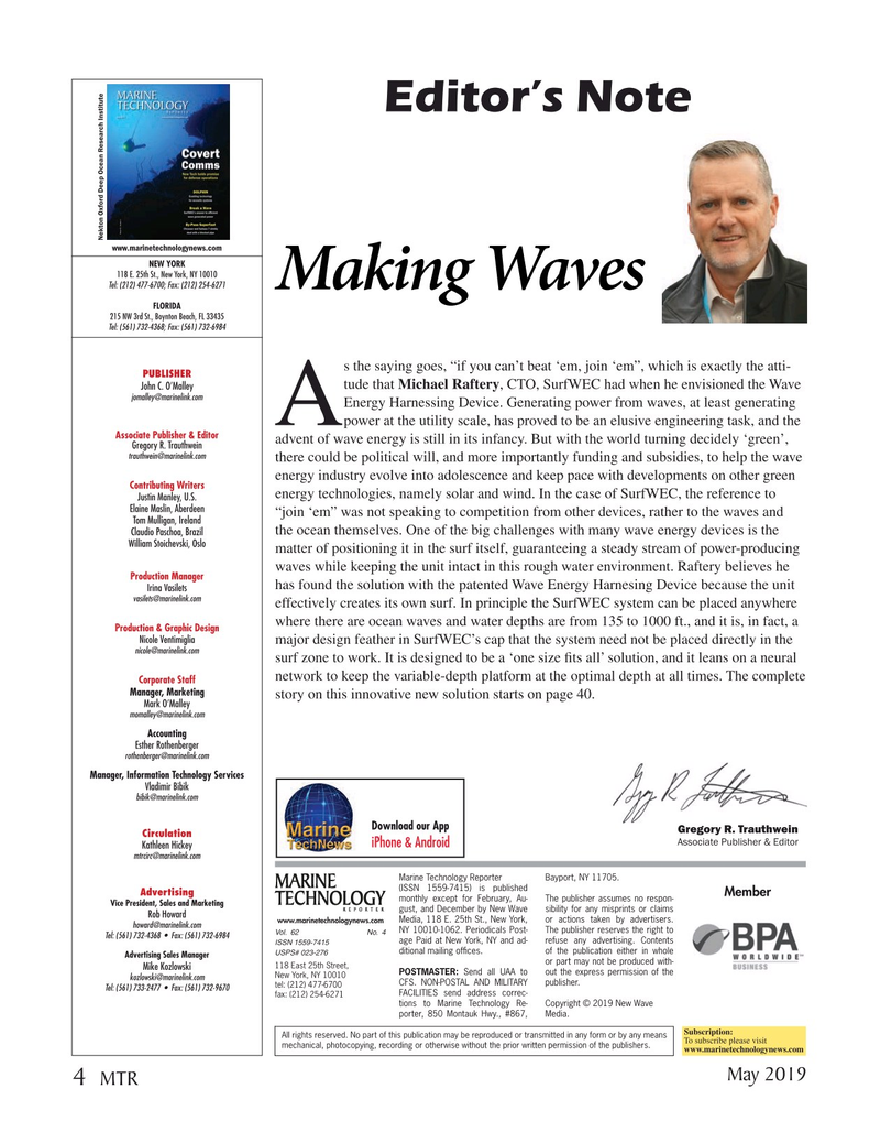 Marine Technology Magazine, page 4,  May 2019