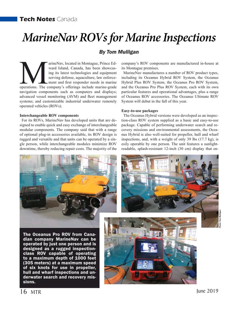 Marine Technology Magazine, page 16,  Jun 2019