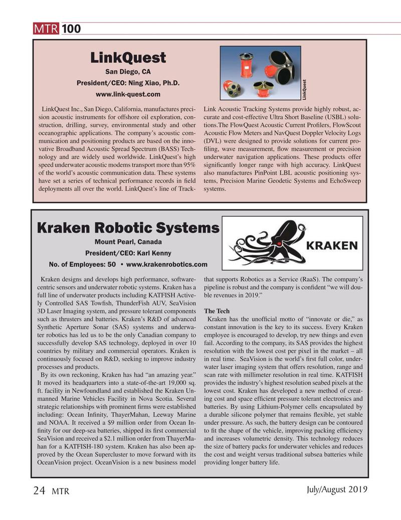 Marine Technology Magazine, page 24,  Jul 2019