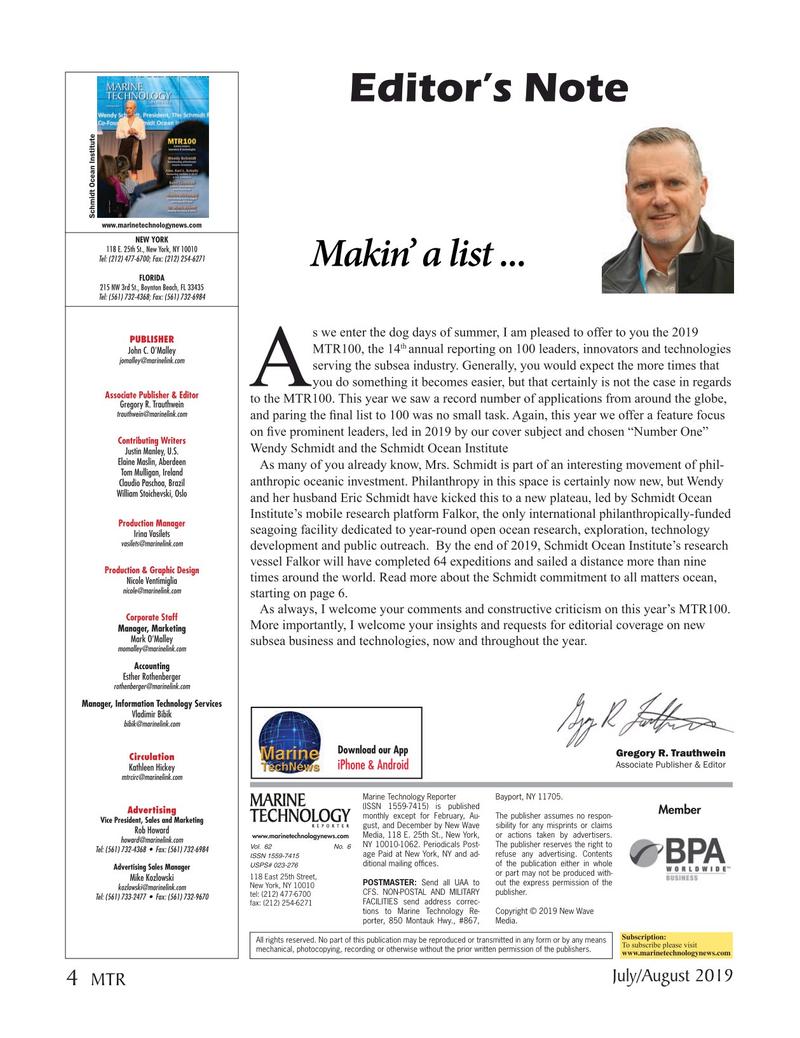 Marine Technology Magazine, page 4,  Jul 2019