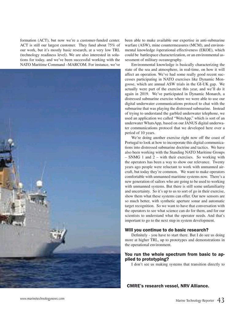 Marine Technology Magazine, page 43,  Sep 2019