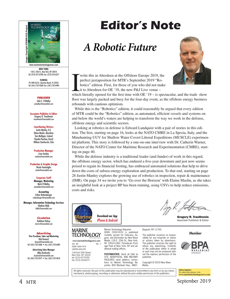 Marine Technology Magazine, page 4,  Sep 2019